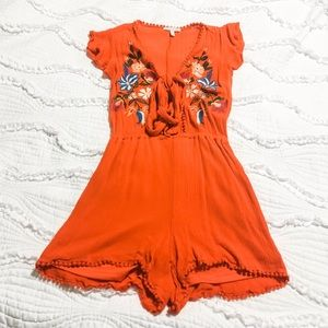 Gianni Bini Floral Embroidered Tie Front Romper